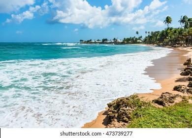 Empty tropical beach Tobago Caribbean
