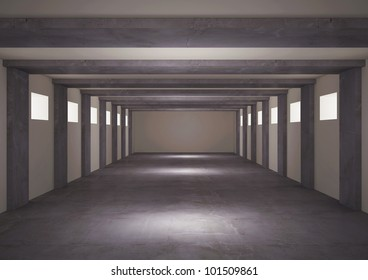 empty underground floor with balks and windows, warehouse space - 3d illustration
