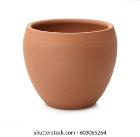 Empty unpainted clay pot isolated on white