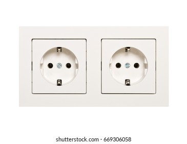 Empty, unplugged european wall outlet close up isolated on white background