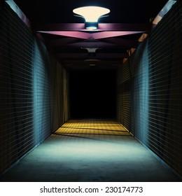 Empty urban night scene.  Metal bridge tunnel.