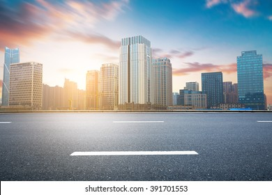 Empty urban road and buildings