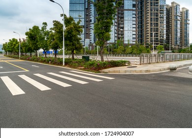 Empty urban road and buildings in China