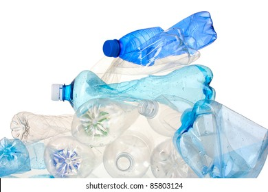 Empty used plastic bottles isolated on white