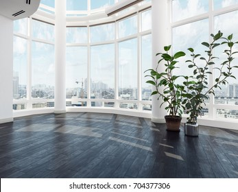 Empty vacant modern luxury apartment or penthouse interior with large curved view windows overlooking the city, a wood floor and potted plants. 3d Rendering.