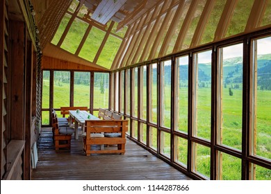Empty veranda with panoramic glazing