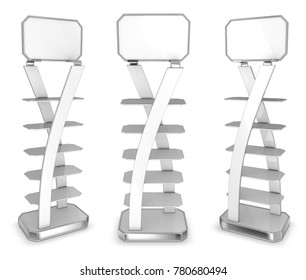 Empty vertical display case with glass shelves. 3d illustration set. Isolated on white.
