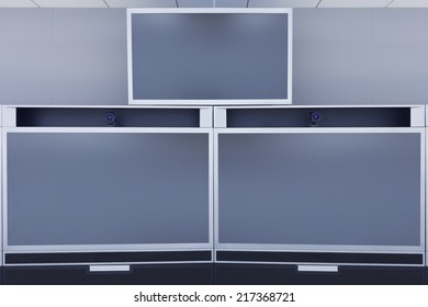 Empty Video Conference Room with blank screen