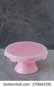 Empty vintage pink cake platter