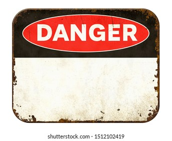 Empty vintage tin danger sign on a white background - Shutterstock ID 1512102419