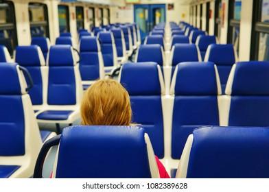 Empty wagon of a suburban electric train