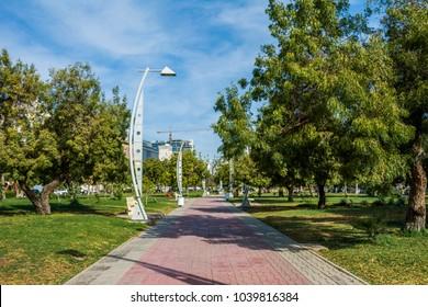 Empty walk way in new beach park, Jeddah, Saudi arabia