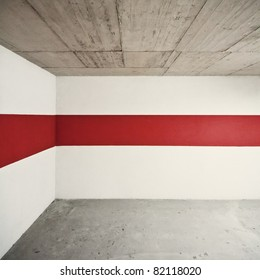 Empty wall with red line, can be used as background