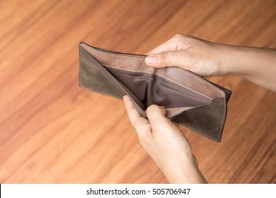 empty wallet, bankrupt concept.