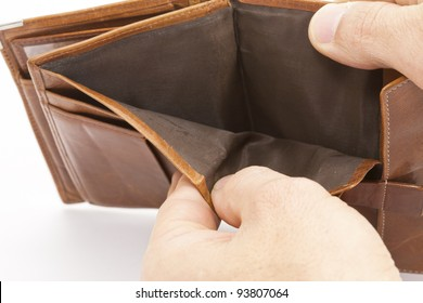 Empty wallet without any money in it