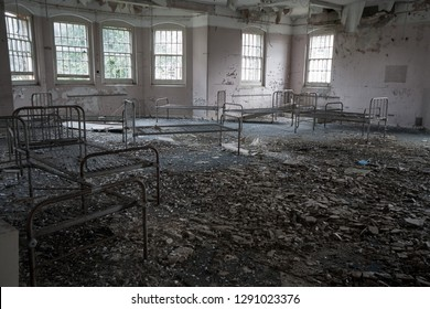 Empty ward and beds at an abandoned mental asylum (now demolished), Cane Hill, Coulsdon, Surrey, England, UK