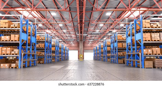 Empty warehouse full of cargo. 3d illustration