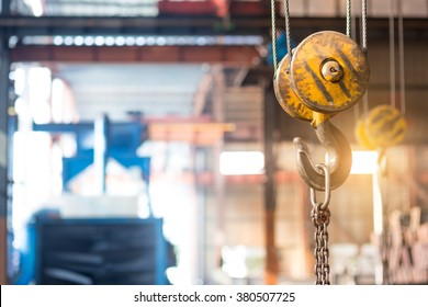 empty warehouse interior with crane hook