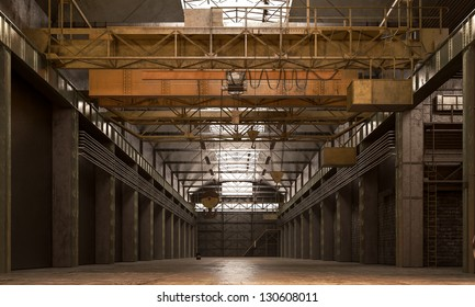 empty warehouse ready to use with steel crane