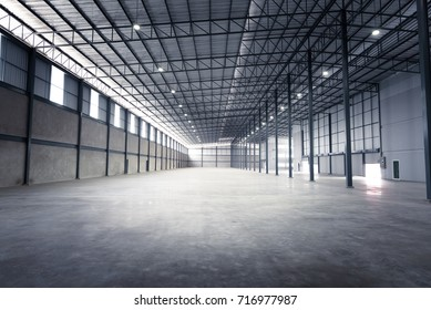Empty warehouse or storage room inside factory