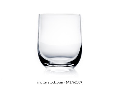 empty water glass on white background