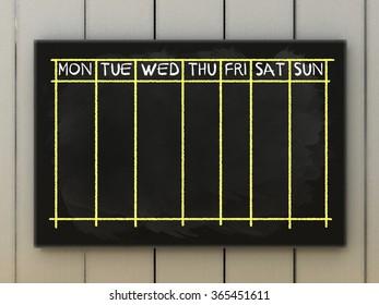 Empty weekly arrangement, calendar,  on blackboard written with chalk.