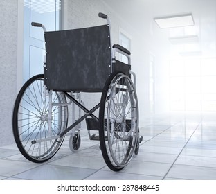 Empty wheelchair parked in hospital hallway  hope concept background