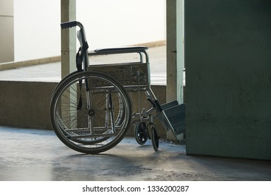An empty wheelchair parking in the hospital