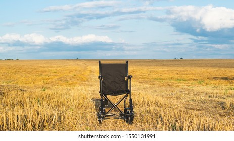 Empty wheelchair in a wide meadow. disabled carriage in nature. medical equipment for invalid person. horizon line dividing field and sky