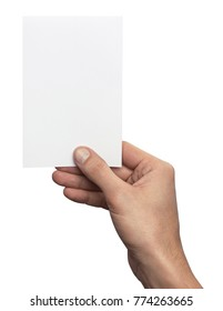 Empty white A6 postcard vertically. Man holding a template isolated in his hand