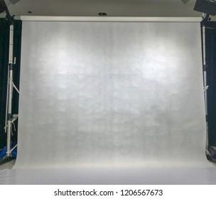empty white background scene in studio for photographer
