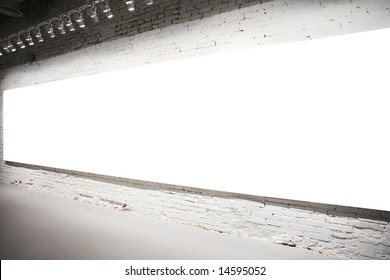 Empty white banner on exposition