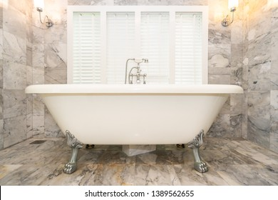 Empty white bathtub decoration interior of toilet and bathroom