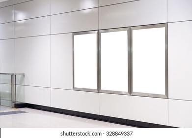 Empty White Billboard inside building