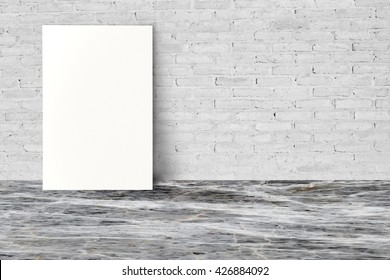 Empty white billboard in room.