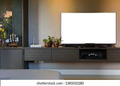 empty white blank television led screen decoration interior home living room, image used for design advertise media business marketing