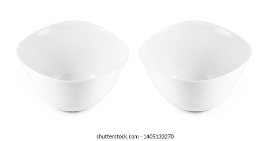 empty white bowls on white background