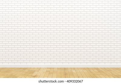 Empty white brick wall (3d Render image)