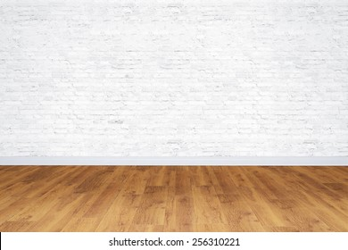 Empty white bricks room with wooden floor