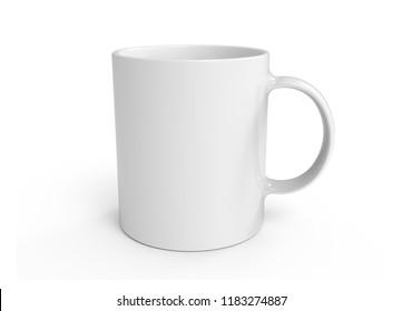 Empty white ceramic mug cup on white background