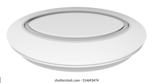 Empty white circle table. White background. 3D rendering
