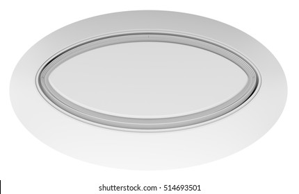 Empty white circle table. Top view. White background. 3D rendering
