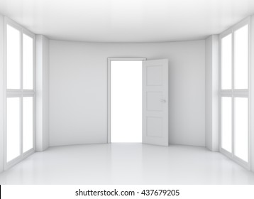 Empty white clean room with opened door and large windows. 3D rendering