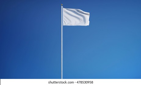 Empty white clear flag waving against clean blue sky, long shot, isolated with clipping path mask alpha channel transparency