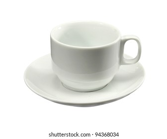 Empty white coffee cup and saucer on a white background.