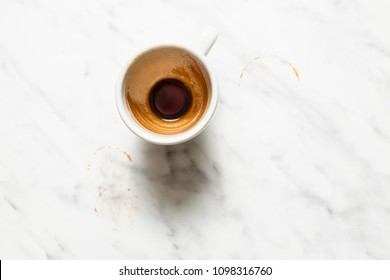 Empty white cup after espresso