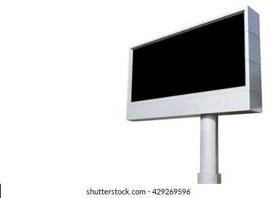 Empty white digital billboard screen for advertising.