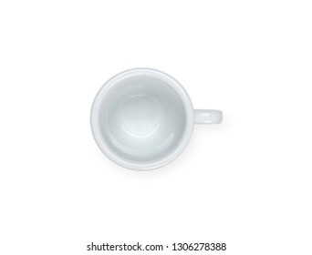 Empty white espresso coffee cup isolated on white background.