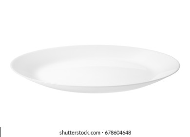 Empty white food plate isolated on a white background.