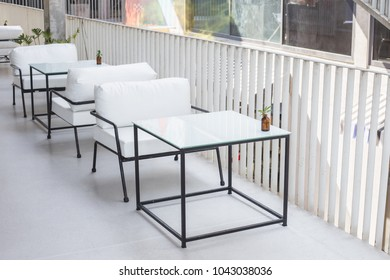 Empty White  furniture at cafe or restuarant
